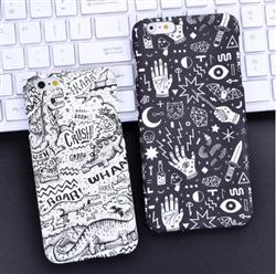 Vỏ điện thoai graffiti  màu đen trắng iphone 6 plus